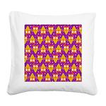 Orange Blue Owl Pattern Square Canvas Pillow