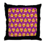 Orange Blue Owl Pattern Throw Pillow