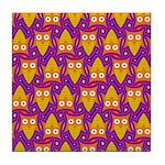 Orange Blue Owl Pattern Tile Coaster