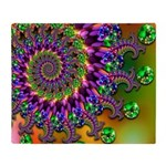 Green Purple Fractal Pattern Throw Blanket