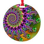 Green Purple Fractal Pattern Round Ornament