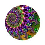 Green Purple Fractal Pattern Ornament (Round)