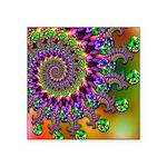 Green Purple Fractal Pattern Square Sticker 3