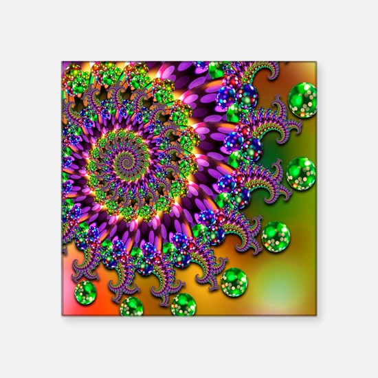 "Green Purple Fractal Pattern Square Sticker 3"" x 3"