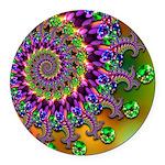 Green Purple Fractal Pattern Round Car Magnet