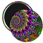 Green Purple Fractal Pattern Magnet