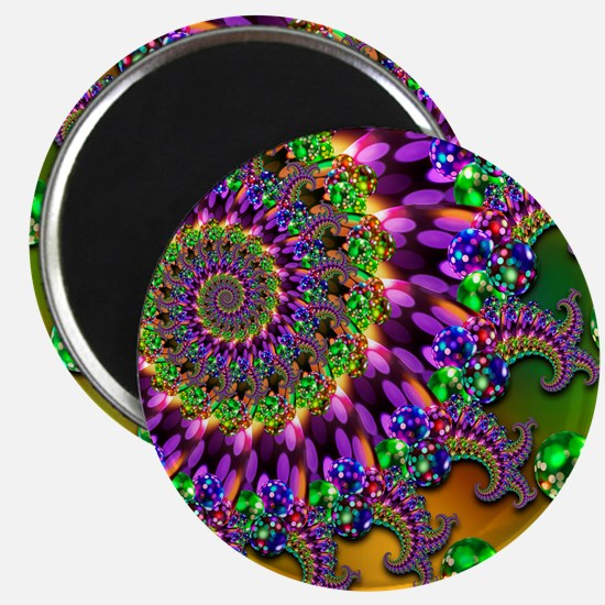 Green Purple Fractal Pattern Magnet