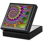 Green Purple Fractal Pattern Keepsake Box