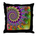 Green Purple Fractal Pattern Throw Pillow