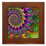 Green Purple Fractal Pattern Framed Tile
