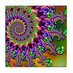 Green Purple Fractal Pattern Tile Coaster