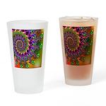 Green Purple Fractal Pattern Drinking Glass
