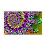 Green Purple Fractal Pattern 35x21 Wall Decal