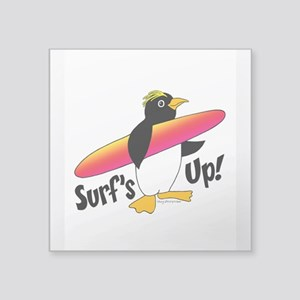 "Surf's Up! Penguin Square Sticker 3"" x 3"""