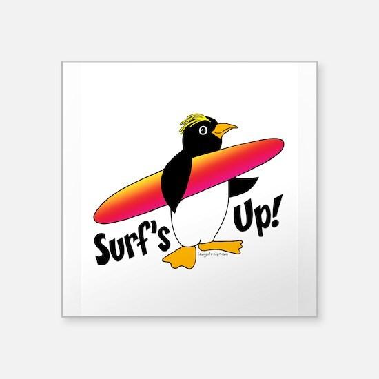 "Surf's Up! Penguin Square Sticker 3"" x 3"""