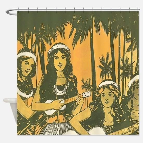 Hawaiian Ukelele Girls Shower Curtain