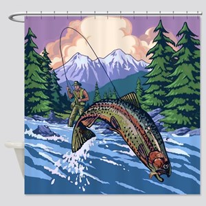 Mountain Trout Fisherman Shower Curtain