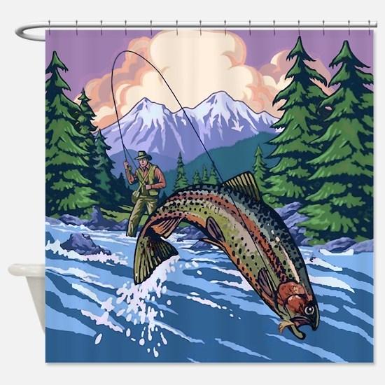 Mountain Trout Fisherman Shower Curtain