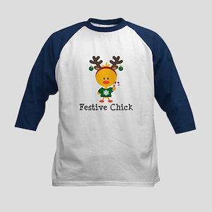 Festive Chick Kids Baseball Jersey