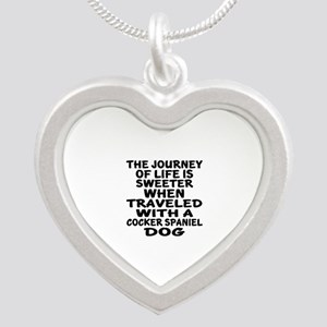 Traveled With Cocker Spaniel Silver Heart Necklace