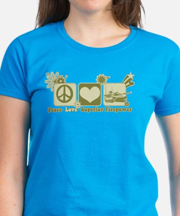 Peace Love Firepower Women's Dark T-Shirt