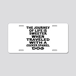 Traveled With Cocker Spanie Aluminum License Plate