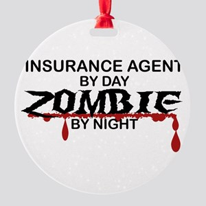 Insurance Agent Zombie Round Ornament