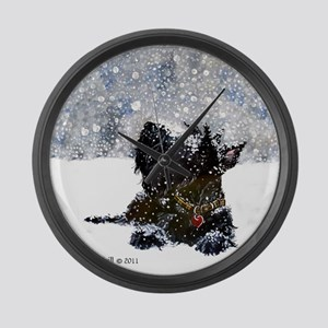 Scottish Terrier Christmas Large Wall Clock