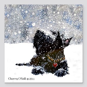 "Scottish Terrier Christmas Square Car Magnet 3"" x"