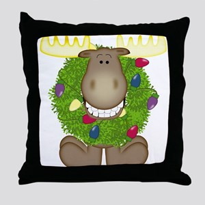 Merry Christmoose Throw Pillow