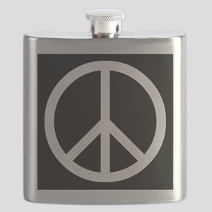 White Peace Sign Flask