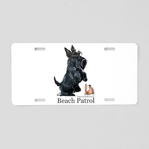 Scottish Terrier Beach Patrol Aluminum License Pla