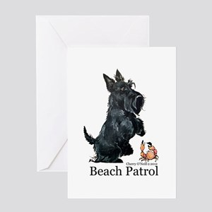 Scottish Terrier Beach Patrol Greeting Card