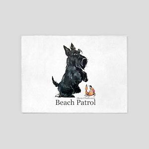 Scottish Terrier Beach Patrol 5'x7'Area Rug