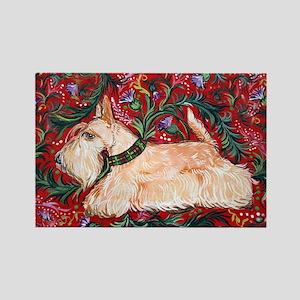 Wheaten Scottish Terrier on Red Rectangle Magnet