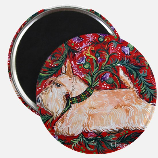 Wheaten Scottish Terrier on Red Magnet