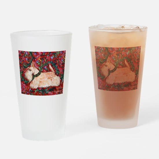 Wheaten Scottish Terrier on Red Drinking Glass