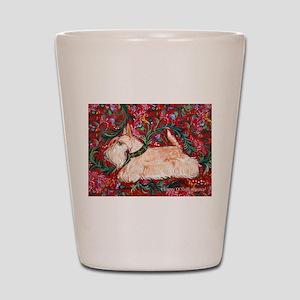 Wheaten Scottish Terrier on Red Shot Glass