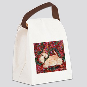 Wheaten Scottish Terrier on Red Canvas Lunch Bag