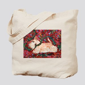 Wheaten Scottish Terrier on Red Tote Bag