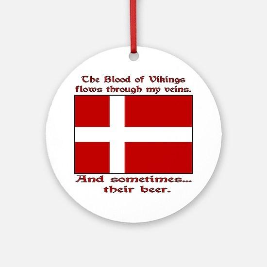 Danish Viking & Beer Ornament (Round)