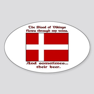 Danish Viking & Beer Oval Sticker