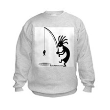 Kokopelli Fisherman Kids Sweatshirt
