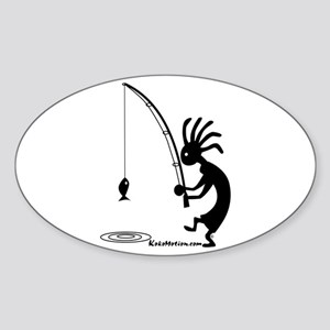 Kokopelli Fisherman Oval Sticker