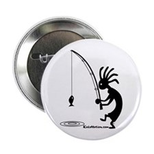 Kokopelli Fisherman Button