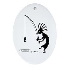 Kokopelli Fisherman Oval Ornament