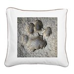 Real Bobcat Track Square Canvas Pillow
