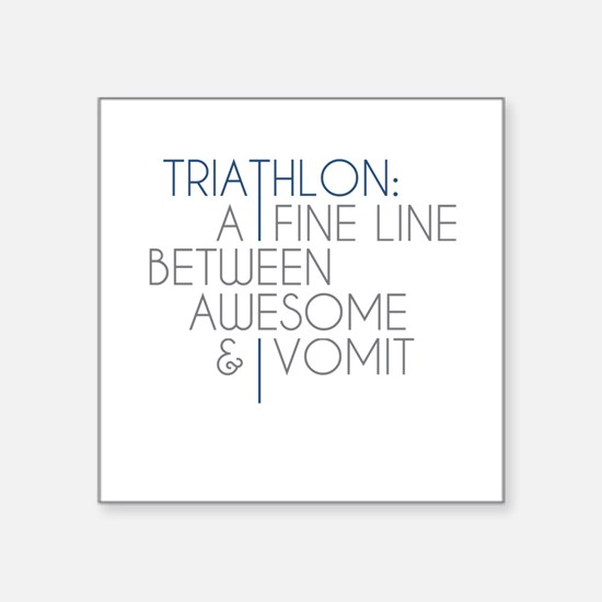 """Triathlon Awesome Vomit Square Sticker 3"""" x 3"""""""