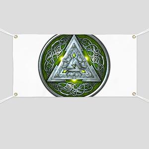 Norse Valknut - Green Banner