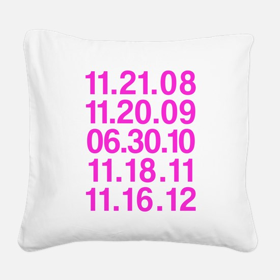 Twilight Opening Dates Square Canvas Pillow